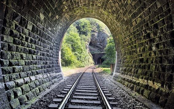 Papéis de Parede Ferroviária, túnel, pedras