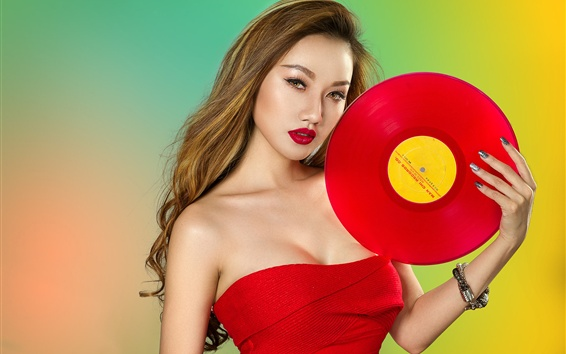Wallpaper Red dress Asian girl, record