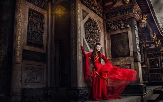 Fond d'écran Robe rouge fille chinoise, modèle, style rétro