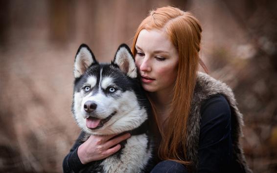 Wallpaper Red hair girl and husky