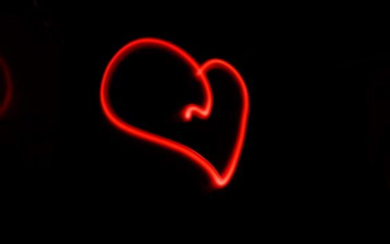 壁紙 赤い線は心臓、黒い背景を愛する