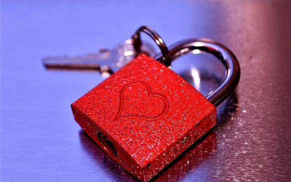 Wallpaper Red love heart lock, shine