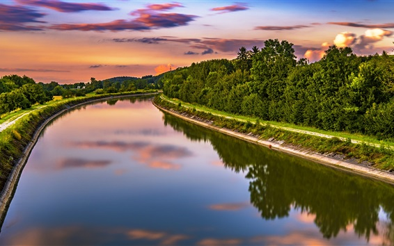 Wallpaper River, trees, clouds, dusk
