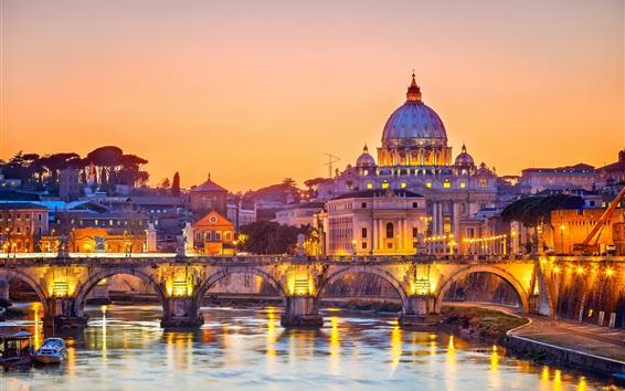 Wallpaper Rome, Italy, bridge, river, city, evening, lights, buildings