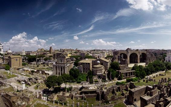 Обои Рим, Италия, панорама, руины