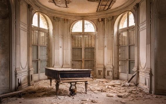 Fond d'écran Ruines, piano, pièce, poussière