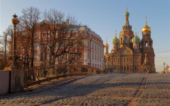 Wallpaper Saint Petersburg, Russia, bridge, church, trees