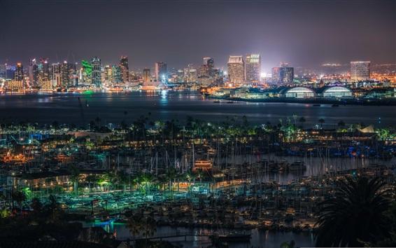 Wallpaper San Diego, United States, docker, buildings, lights, night, bay