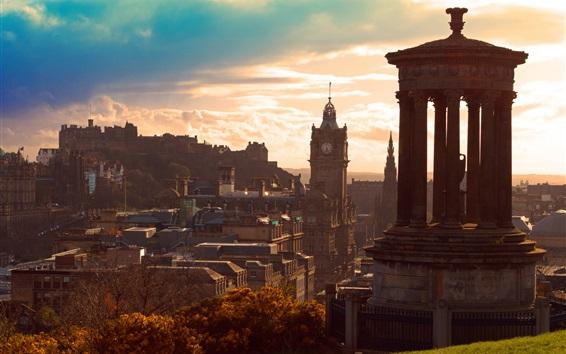 Wallpaper Scotland, Edinburgh, city, sky, clouds, dusk