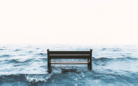 Wallpaper Sea, bench, waves