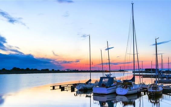 Papéis de Parede Mar, barcos, por do sol