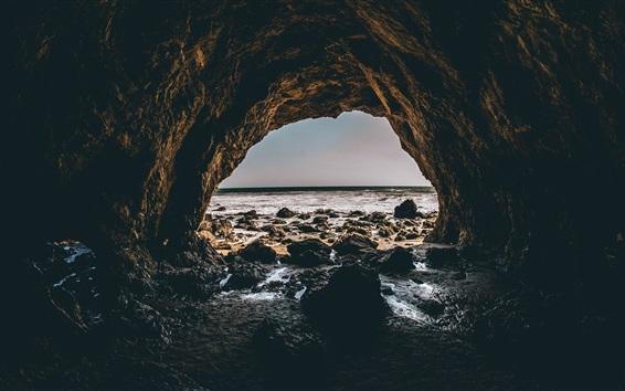 Wallpaper Sea, cave, stones, waves