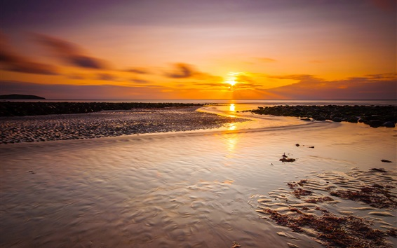 Fond d'écran Mer, côte, coucher de soleil, paysage nature