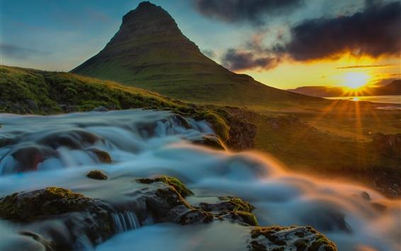 Papéis de Parede Mar, montanha, raios solares, cachoeira, madrugada, pedras