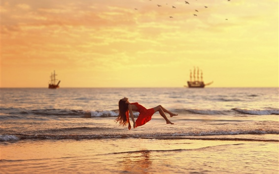 배경 화면 바다, 파도, 빨간 드레스 소녀 float