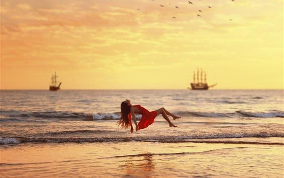 Wallpaper Sea, waves, red dress girl float