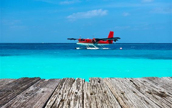 Wallpaper Seaplane, sea, wood board, blue