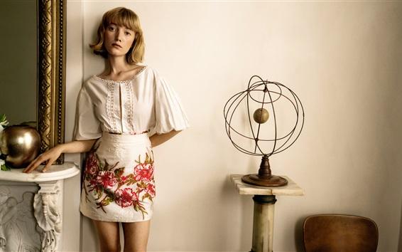 Wallpaper Short hair, blonde girl, summer dress, room