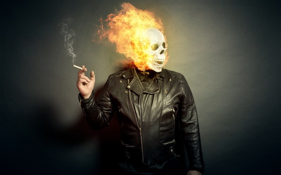 Wallpaper Skull, fire, people, cigarette, creative picture