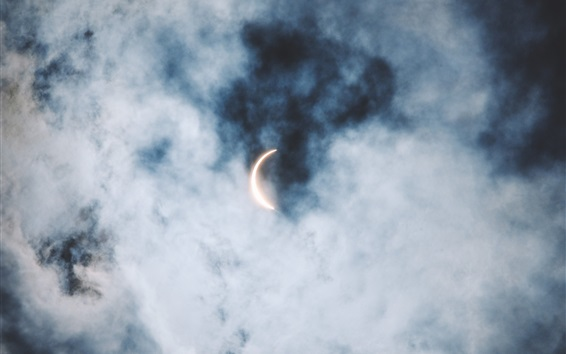 Wallpaper Sky, clouds, eclipse, sun and moon