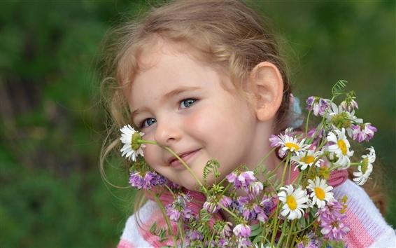 Fond d'écran Smile fille enfant, fleurs