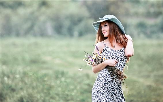 Wallpaper Smile girl, hat, flowers