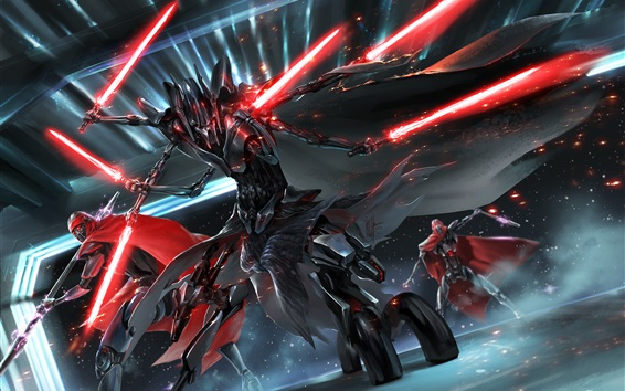 Fondos de pantalla Star Wars, dibujo de arte, lucha, espada ligera