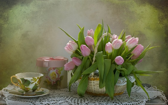 Wallpaper Still life, pink tulips, gift, cup