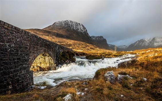 Wallpaper Stones bridge, grass, mountains, river, cloudy