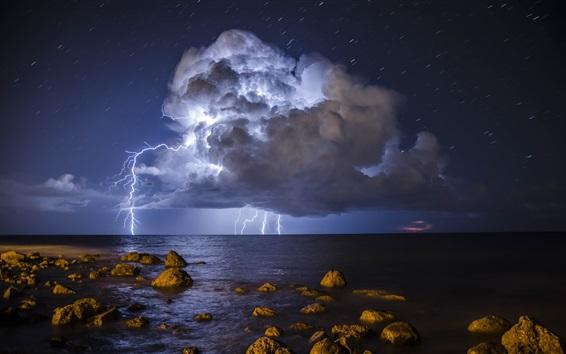 Wallpaper Storm, lightning, sea, stones