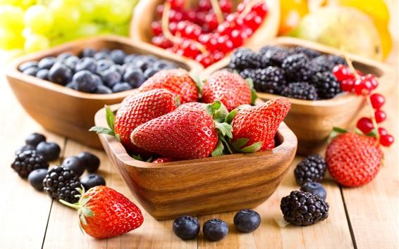 Wallpaper Strawberries, blueberries, blackberries, fresh fruit