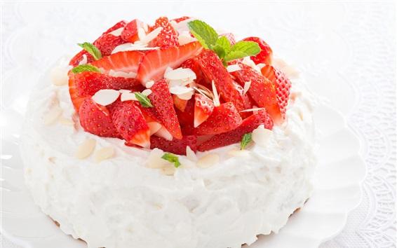 Wallpaper Strawberry cake, dessert, delicious