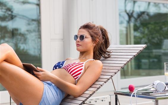 Wallpaper Summer girl, bra, sexy, chaise, sunglass