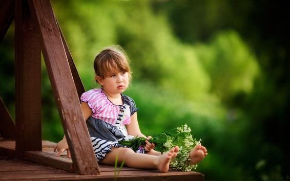 Wallpaper Summer, little girl, child, flowers