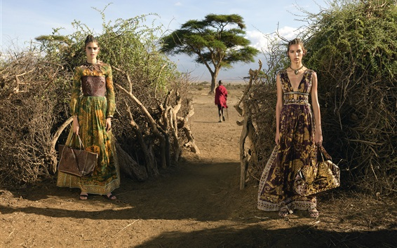 Wallpaper Summer, two fashion girls, Africa
