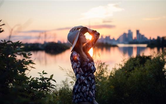 Wallpaper Sunset, girl, hat, river, city