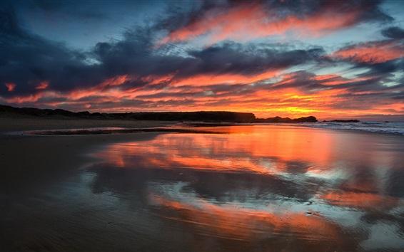 Hintergrundbilder Sonnenuntergang, Meer, Himmel, Wolken, Dämmerung