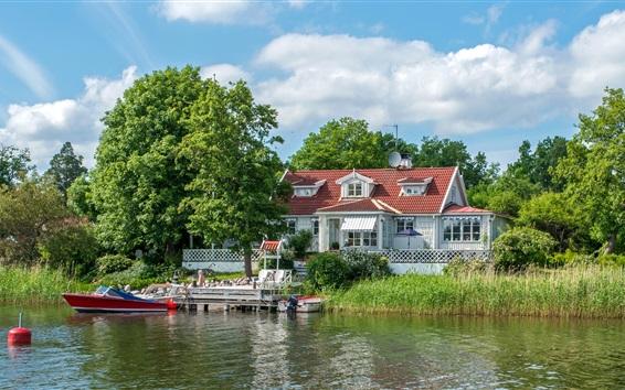 Wallpaper Sweden, boats, reeds, trees, house, pier, river