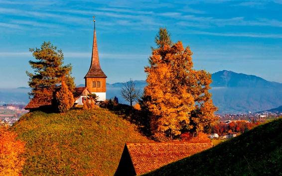Papéis de Parede Suíça, árvores, vale, igreja, outono