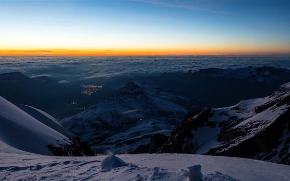 Wallpaper Switzerland, valley, snow, mountains, top view, Jungfraujoch, Bernese Alps