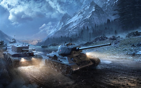 Обои Танки Т-34-85 в ночное время, World Of Tanks