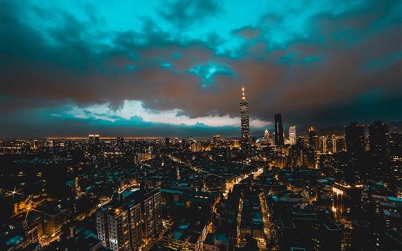 Обои Тайбэй, Тайвань, город, небоскребы, здания, ночь, огни