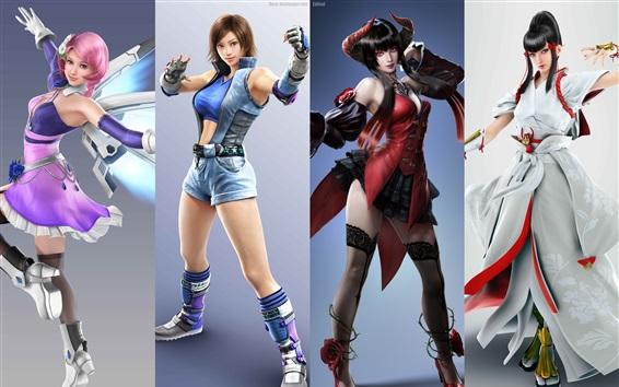 Wallpaper Tekken 7, four beautiful girls