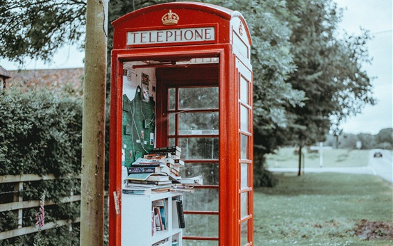 Wallpaper Telephone booth, books