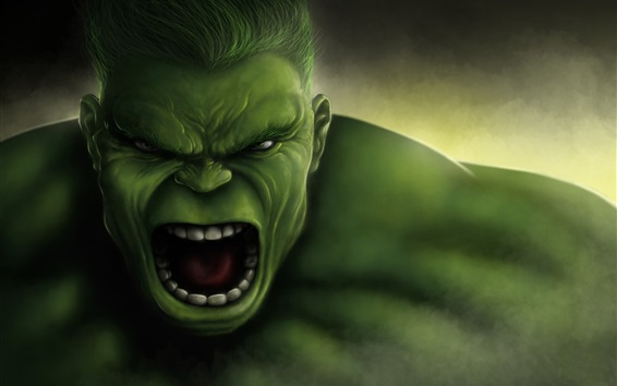 Fond d'écran The Hulk, face, Marvel Comics, photo d'art