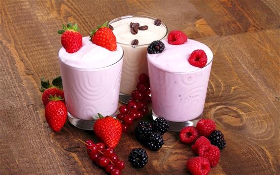 Wallpaper Three cups of ice cream, berries, dessert