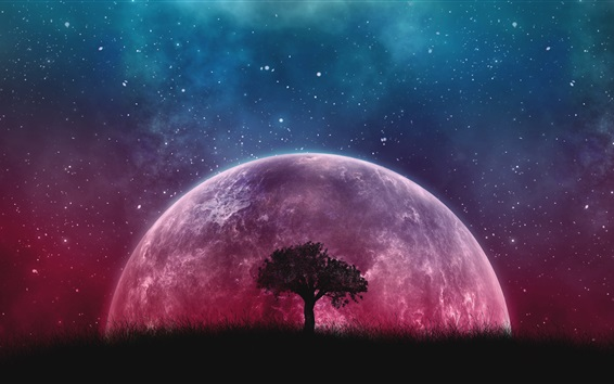 Wallpaper Tree, grass, purple planet, starry