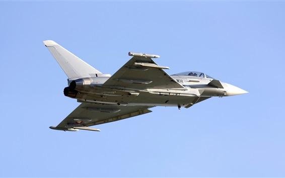 Fondos de pantalla Tifón Eurofighter, vuelo de caza, cielo azul