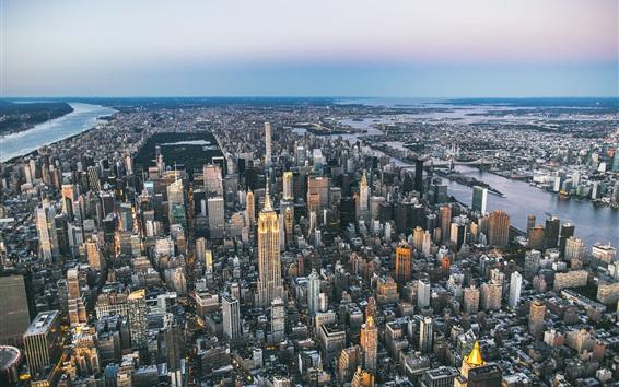 Wallpaper USA, New York, city, panorama, megapolis, skyscrapers, bridge