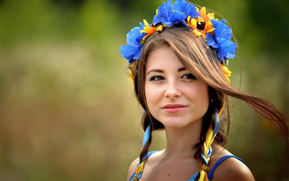 Ukrainian, brown-eyed girl, wreath Wallpaper Preview